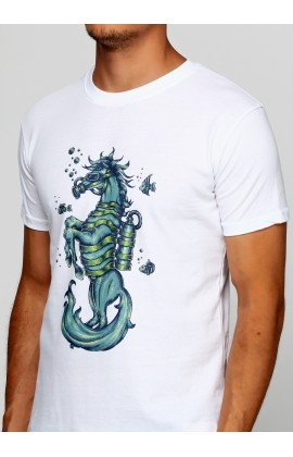 Мужская футболка с принтом Seahorse